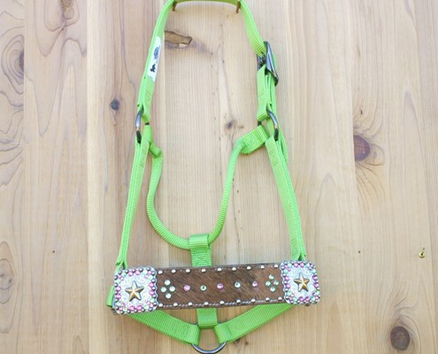 "2"" Brown cowhide straight nose blue halter with square gold star conchos and Peridot and Rose Swarovski rhinestones"