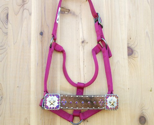 "2"" brown cowhide straight nose pink fusion halter with square star conchos and Volcano Swarovski rhinestones"