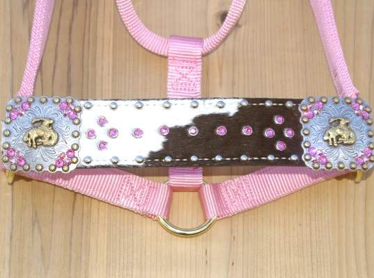 Straight nose pink halter with black and white hide and Rose and Rose AB swarovski rhinestons