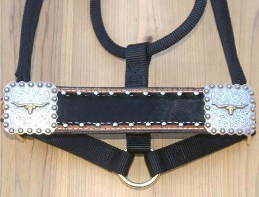 Straight nose black halter with black hide and Steerhead conchos