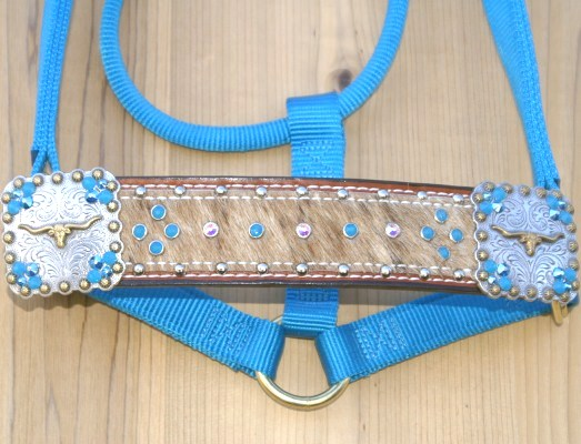 Straight nose hurricane blue halter with lt brindle hide and Carribbean blue opal and crystal ab stones