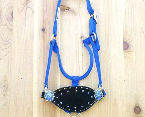 Blue halter with black cowhide bronc noseband and Sapphire and Sapphire AB Swarovski rhinestones