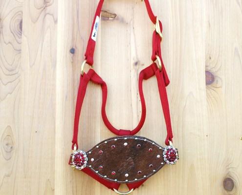 Red halter with brindle cowhide bronc noseband and Siam and Crystal AB Swarovski rhinestones