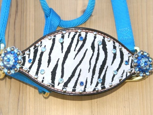 Hurricane Blue bronc halter with zebra hide and Capri and Aquamarine swarovski rhinestones