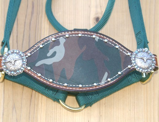 Green bronc halter with camo hide and steerhead conchos
