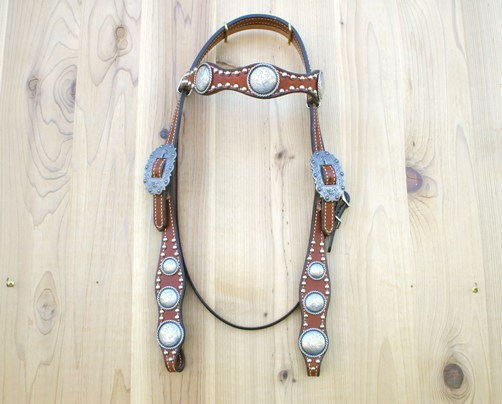 Scallop leather headstall with antique silver rope edge conchos and buckle