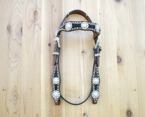 Dark brindle headstall with Crystal Swarovski berry conchos and buckle set