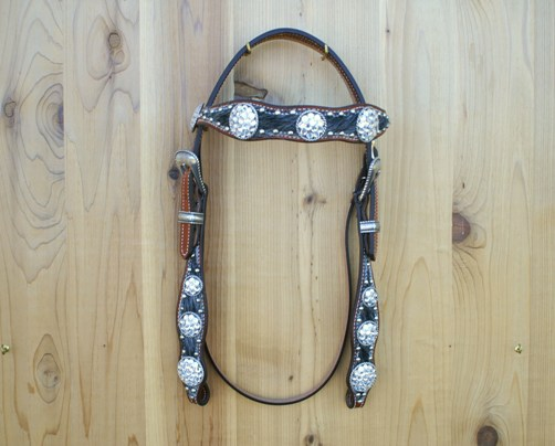 Scallop headstall with salt & pepper hide and Crystal Swarovski berry conchos and buckle set