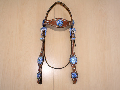 Leather headstall with berry conchos and Sapphire and Lt Sapphire Swarovski rhinestones