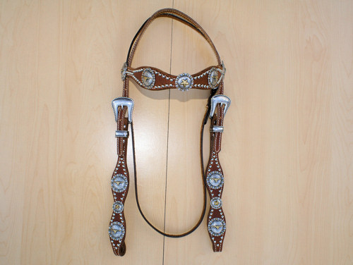 Leather headstall with steerhead conchos and silver spots