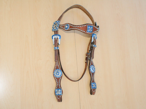Leather headstall with star conchos and Capri Blue and Clear Swarovski rhinestones