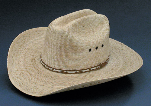 Palm Marfa 4X cattleman cowboy hat with brown hat band and eyelets