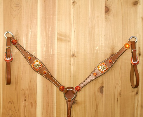 Leather breast collar with Square barrel racer conchos with Fire Opal Swarovski rhinestones
