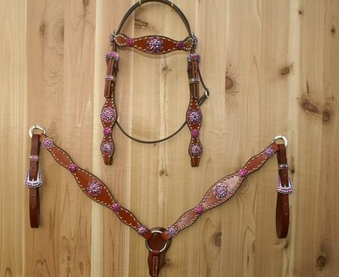 Leather Scallop tack set with Fuchsia and Fuchsia AB Swarovski rhinestones