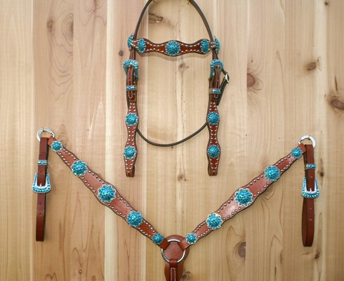 Leather scallop tack set with Blue Zircon Swarovski rhinestones