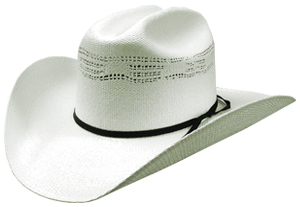 Bangora straw cattleman hat with black band