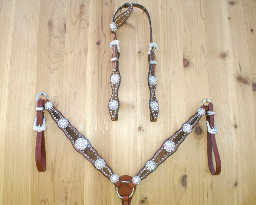 Scallop one ear tack set with brown cowhide and Crystal AB Swarovski rhinestones