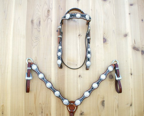 5 Scallop tack set with salt & pepper hide and Crystal Swarovski rope edge conchos and buckle sets