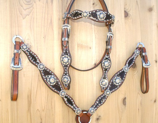 Large 3 scallop tack set with dark brown and gold acid hide with Lt colorado and Jet Hematite Swarovski rhinestones