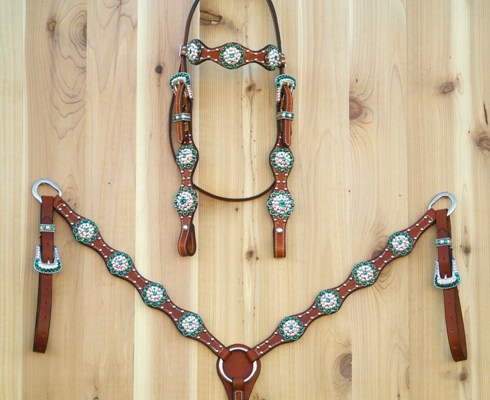Scallop tack set with berry conchos and Emerald and Clear AB Swarovski rhinestones