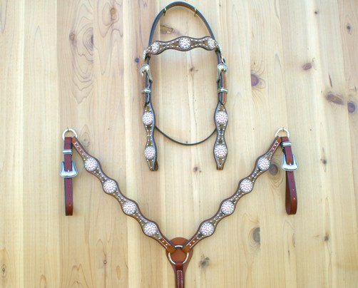 4 Scallop brown hide tack set with Crystal AB Swarovski rope edge conchos and buckle sets