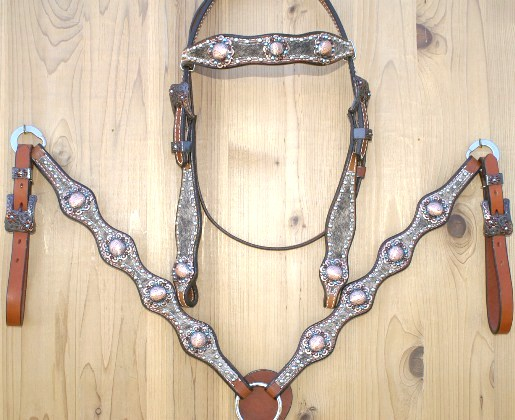 4 scallop hair on tack set with dark brindle hide and antique copper conchos