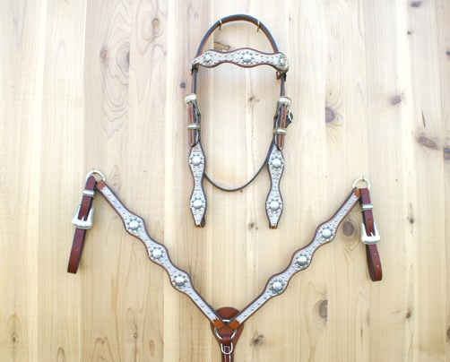 3 Scallop tack set with lt brindle hide and berry conchos and buckle sets