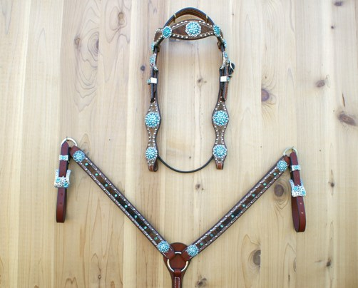 Brown brindle straight breast collar set with berry conchos and Blue Zircon AB Swarovski rhinestones
