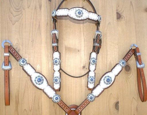 White croc tack set with Montana and Montana AB swarovski rhinestones