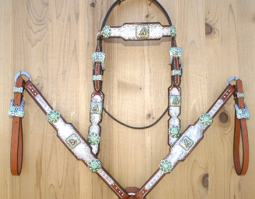White cowhide tack set with Peridot and Peridot AB swarovski Barrel Racer conchos