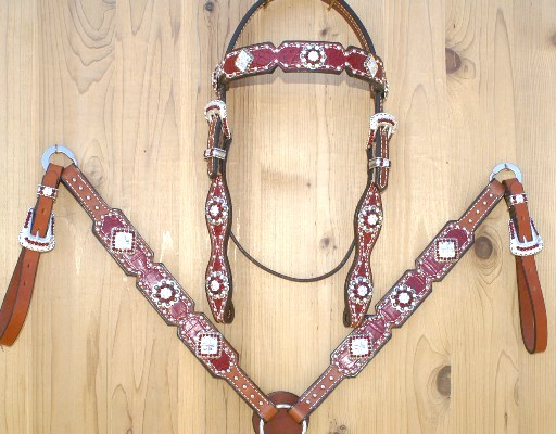 Red croc square tack set with Siam and Crystal swarovski rhinestones
