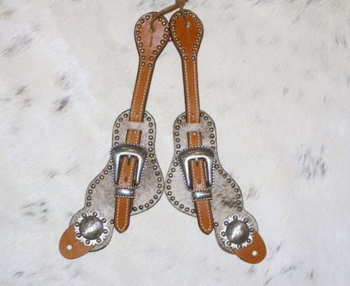 Lt brindle hair on spur straps with antique silver berry conchos