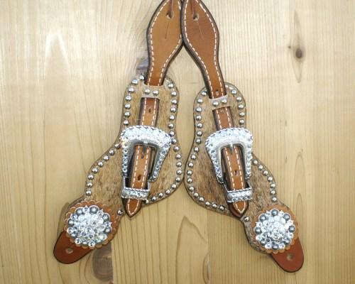 Medium Brindle hair on spur straps with Crystal Swarovski rhinestones