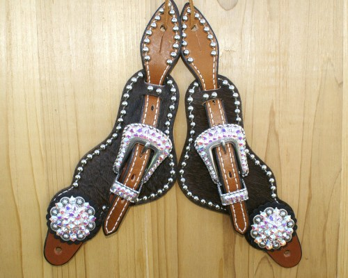 Medium Black hair on spur straps with Crystal AB Swarovski rhinestones