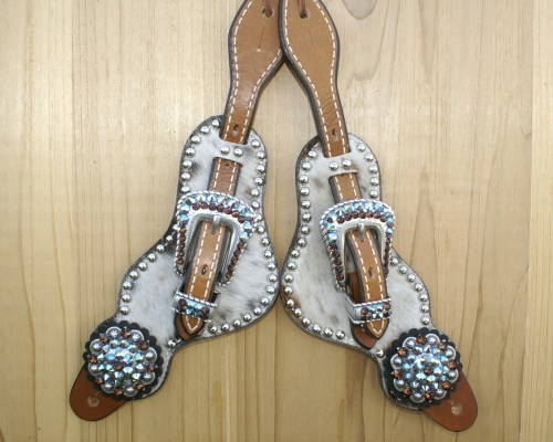 Medium tri color hair on spur straps with Smoke Topaz and Smoke Topaz AB rhinestones