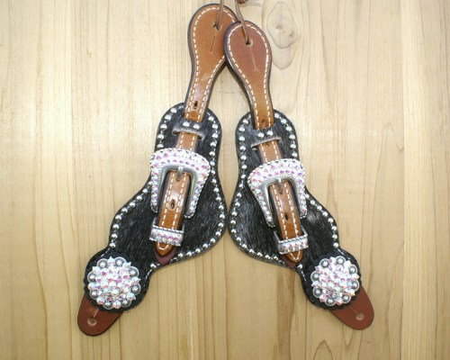 Medium salt & pepper hair on spur straps with Crystal AB rhinestones