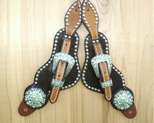 Medium Black hair on spur straps with Peridot & Peridot AB rhinestones