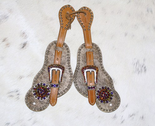 Lt brindle hair on large spur strap with berry conchos and volcano rhinestones