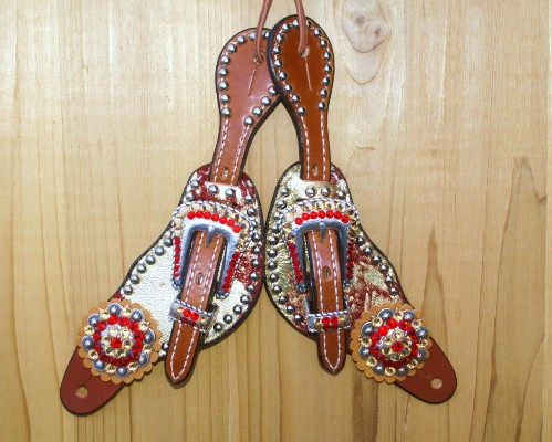 Small spur straps with red acid hide and Lt Colorado and Lt Siam Swarovski rhinestones