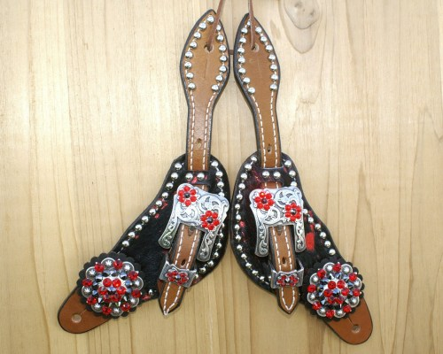 Small black and red metallic acid hair on spur straps with Lt Siam & Jet rhinestones