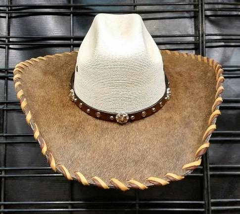 Hair on hide laced bling cowgirl hat with brown hide