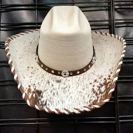 Hair on hide laced bling cowgirl hat with brown speckle hide, size 7