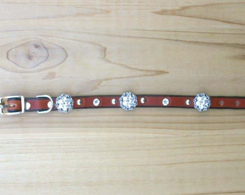 "1/2"" wide x 10"" length leather dog collar with Crystal Swarovski berry conchos, rimsets, and domes"