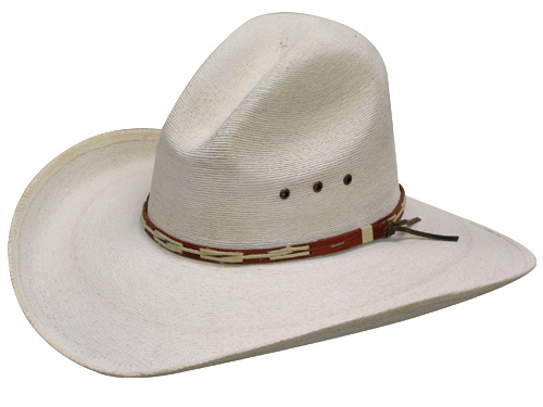 Bleached fine palm gus hat with brown hat band
