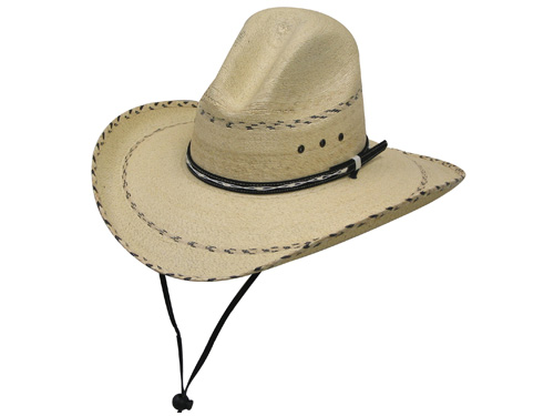 Pinto Palm Gus Hat with stapede string attached