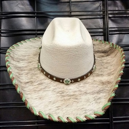 Hair on hide laced bling cowgirl hat with lt brindle and green, size 7 3/8
