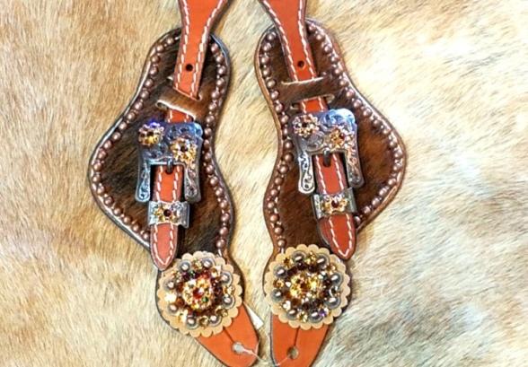 Hair on brindle spur strap with copper hardware and smoke swarovski rhinestones