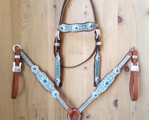 Turquoise croc tack set with swarovski rhinestones